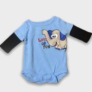 4/$20🥳Garanimals Blue Long Sleeve Elephant Onesie